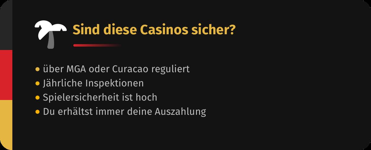 Casinos ohne Einsatzlimit sind sicher